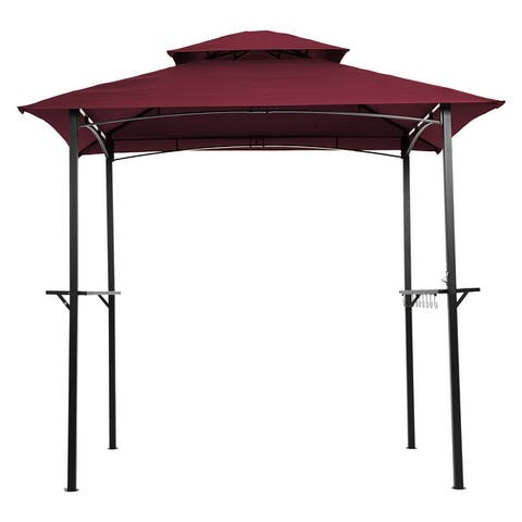 Outdoor Grill Gazebo Shelter Tent with hook and Bar Counters,8 x 5 Ft, Burgundy/ Khaki