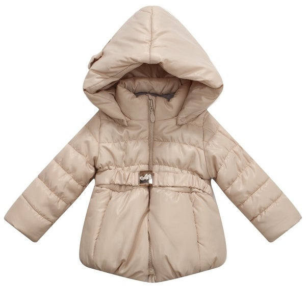 Richie House Baby Girls Beige Hood Matching Belt Padded Jacket 24M