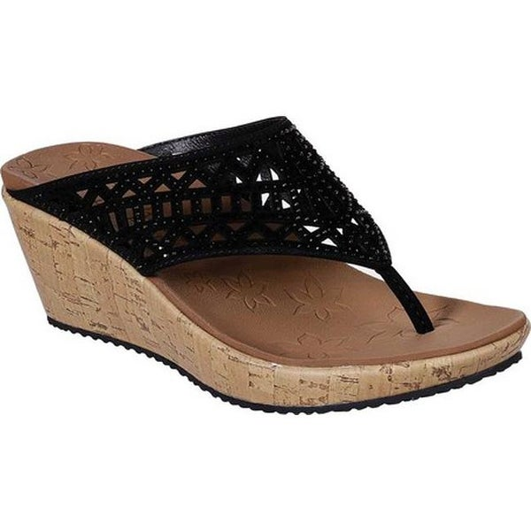 9a5720d3bac Shop Skechers Women's Beverlee Summer Visit Wedge Sandal Black - On ...