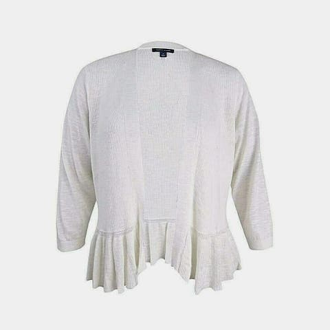 Tommy Hilfiger Womens White Size XL 3/4 Sleeve Open Front Cardigan