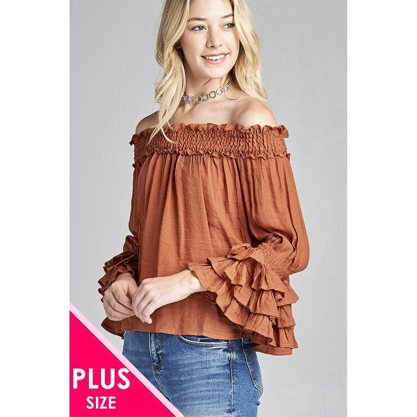 c1c61f5f29 Ladies Fashion Plus Size Long Sleeve W Ruffle Off The Shoulder Woven Top -  Size