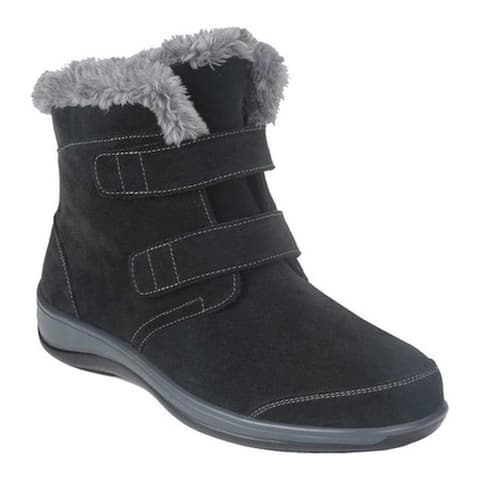 Orthofeet Women's Florence Faux Fur Bootie Black Suede