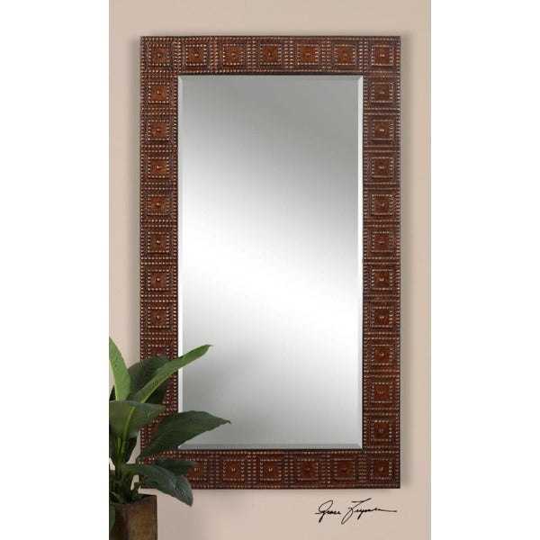 71 Large Elegant Rectangular Brown And Gold Beaded Detailed Wall Mirror Free Shipping Today 16624031