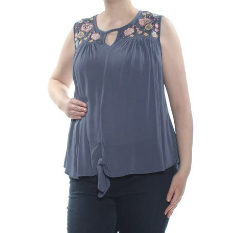 PLANET GOLD Womens Blue Tie Embroidered Floral Sleeveless Keyhole Blouse Top Plus Size: 1X