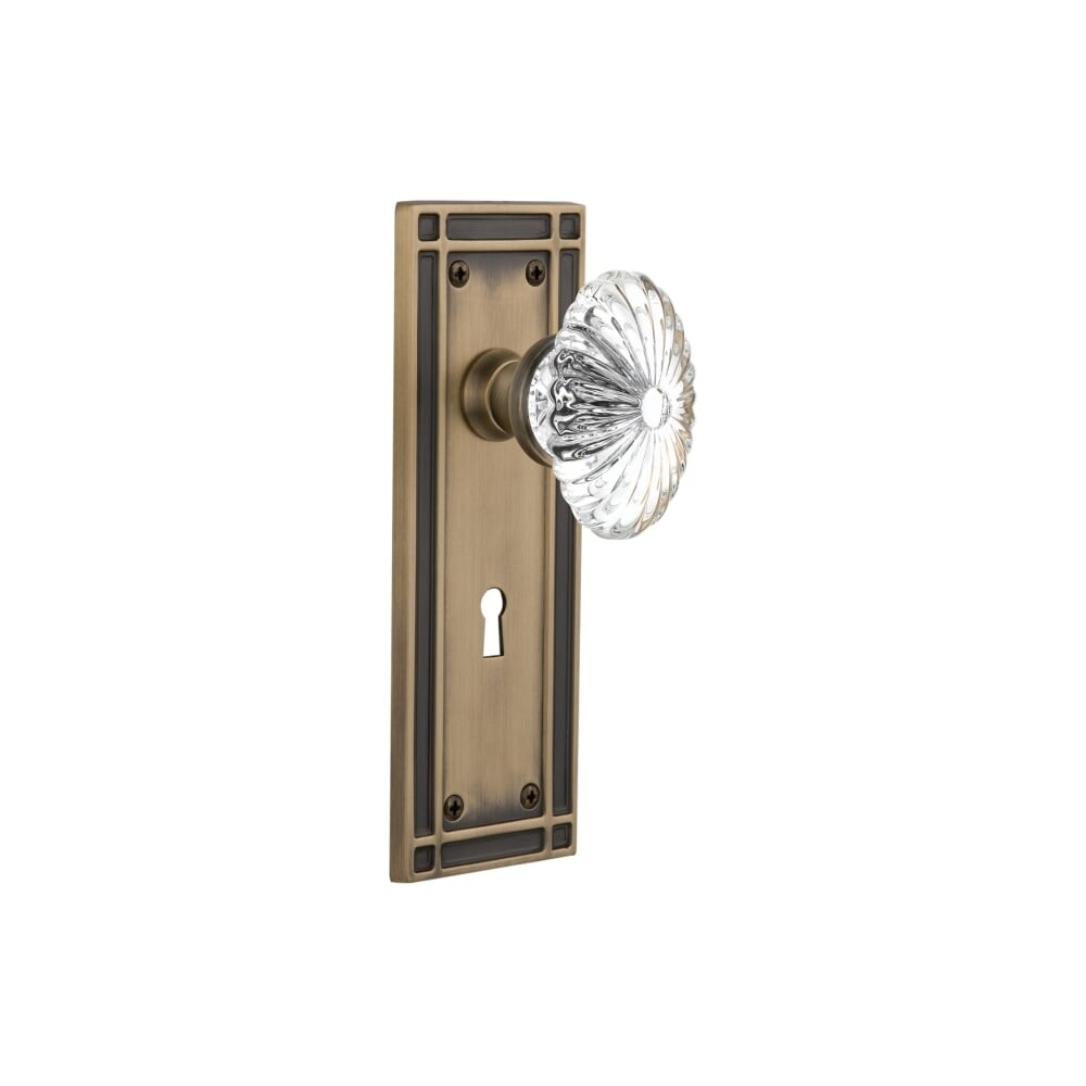 Nostalgic Warehouse MISOFC_PRV_234_KH  Oval Fluted Crystal Solid Brass Privacy Knob Set with Mission Rose, Keyhole and 2-3/4 (Timeless Bronze)