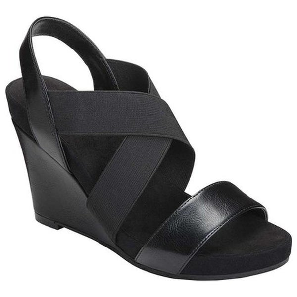 301a48784462 ... Women s Sandals. A2 by Aerosoles Women  x27 s Lotus Plush Wedge Sandal  Black Faux Leather