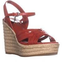 Coach Dottie Strappy Ankle Strap Wedge Sandals , Beechwood - 7.5 us / 37.5 eu