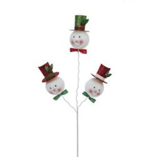 """Club Pack of 12 Glittering Snowman with Hat Christmas Picks 16"""" - Red"""