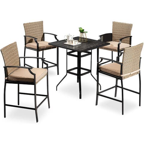 Mcombo Wicker Patio Dining Set, 5 Pcs Outdoor Furniture Dining Set, Table and Rattan Chairs with Cushions, 6084-DS28-BK