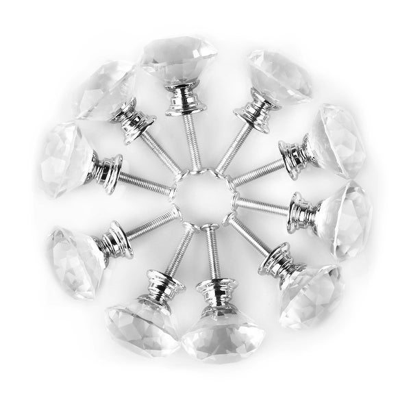 """1.18"""" Dia Diamond Shaped Crystal Glass Drawer Knobs Cabinet Pull Handle Clear 10pcs"""