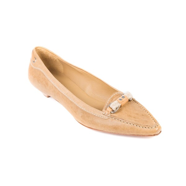 78facdbd Shop Car Shoe By Prada Tan Leather Braided Pointed Toe Loafers ...