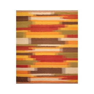 Hand Woven Reversible Gold Sage Flat Weave Wool Modern Contemporary Oriental Area Rug 8x10 7 5 X 9 5 Overstock 32381309