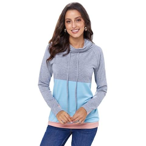 Cali Chic Women's Sweatshirts Celebrity Grey Blue Color Block Sleeved Pullover Sweatshirt