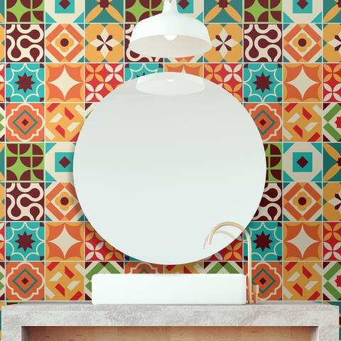 Walplus Ziggy Colorful Retro Wall Tile Sticker Peel and Stick 24pcs