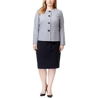 Le Suit Womens Plus Skirt Suit Plaid Long Sleeves - 24W