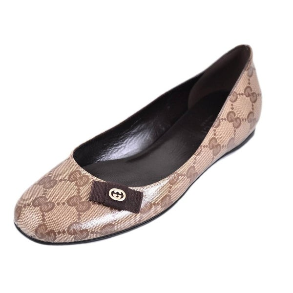 gucci 317040 crystal canvas gg guccissima ballerina flats shoes 37 5 7 5 free shipping today. Black Bedroom Furniture Sets. Home Design Ideas