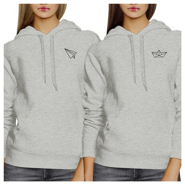 Shop Origami Plane And Boat Grey Cute Matching Hoodies For Best