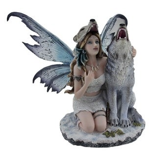 Snow Wolf Huntress Fairy With Howling Wolf Statue - 11 X 15 X 13 inches