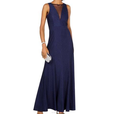 Nightway Women's Dress Deep Blue Size 8 Rib Metallic Knit Mesh Gown
