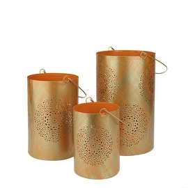 Set of 3 Orange and Gold Decorative Floral Cut-Out Pillar Candle Lanterns 10""