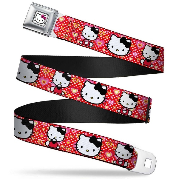 Hello Kitty Face W Pink Bow Full Color Hello Kitty Valentine's Day 2 Seatbelt Belt