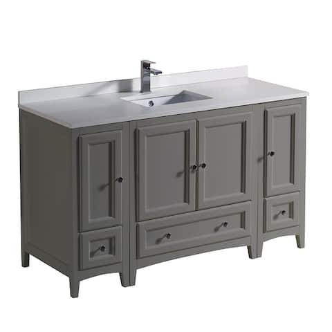 "Fresca Oxford 54"" Gray Traditional Bathroom Cabinets w/ Top & Sink"