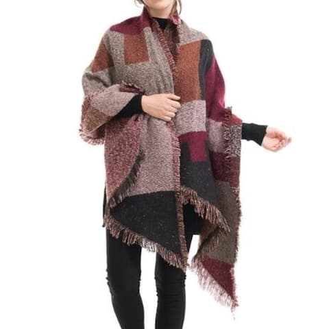 Women Plaid Wrap,Winter Poncho Cape,Oversized Cardigan Sweaters,Accessories For Women - One Size
