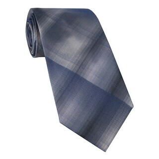 Kenneth Cole Reaction Coonhound Unsolid Classic Silk Tie Grey and Navy - One Size Fits most