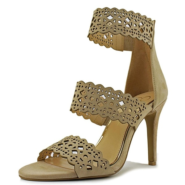 Jessica Simpson Jaymay Women Open-Toe Leather Nude Heels