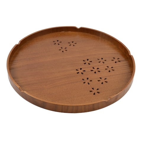 Wood Round Cherry Hollow-out Pattern Tea Coffee Serving Tray Holder - 12'' x 0.8''(L*D)
