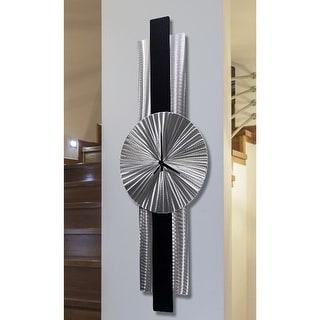 "Statements2000 Metal Wall Clock Art Modern Silver Black Decor by Jon Allen - Infinite Orbit - 32"" x 9"""