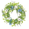 "22"" Decorative Blue and White Hydrangea and Wild Daisy Artificial Floral Wreath - Unlit - Thumbnail 0"