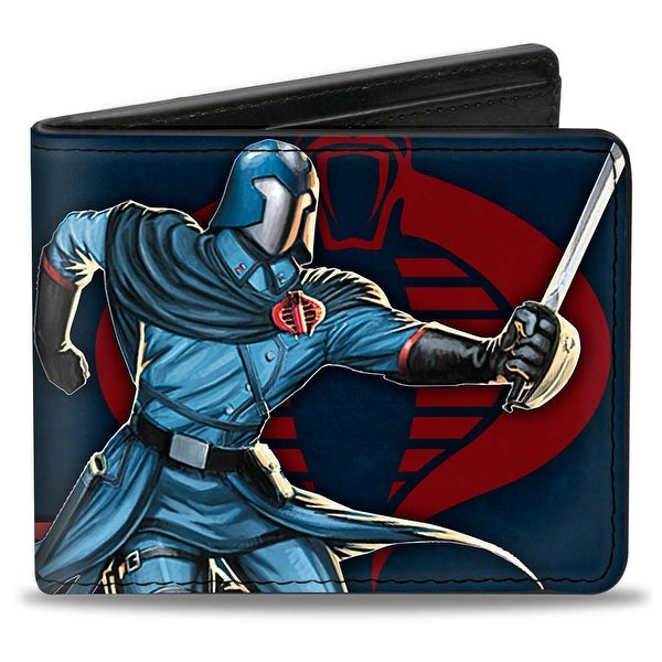 Gi Joe Cobra Commander Pose Cobra Logo + Gi Joe Stripe Navy Red Bi Fold Bi-Fold Wallet - One Size Fits most