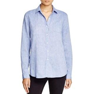 Trovata Womens Casual Top Button Collar