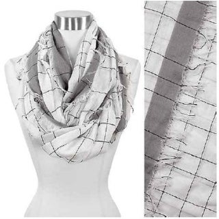Checker Stitch With Frayed Infinity Scarf-White