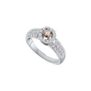 14k White Gold Cognac-brown Champagne Solitaire Round Diamond Womens Wedding Engagement Ring 3/4 Cttw - Brown