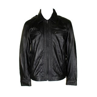 Michael Kors Mens Classic Black Leather Full Zip Bomber Jacket L