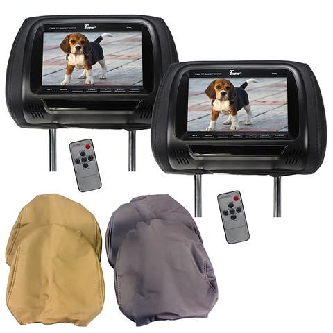 Tview t77pl tview 7 tft lcd headrest monitor 3 interchangeable headrest covers ir transmitter