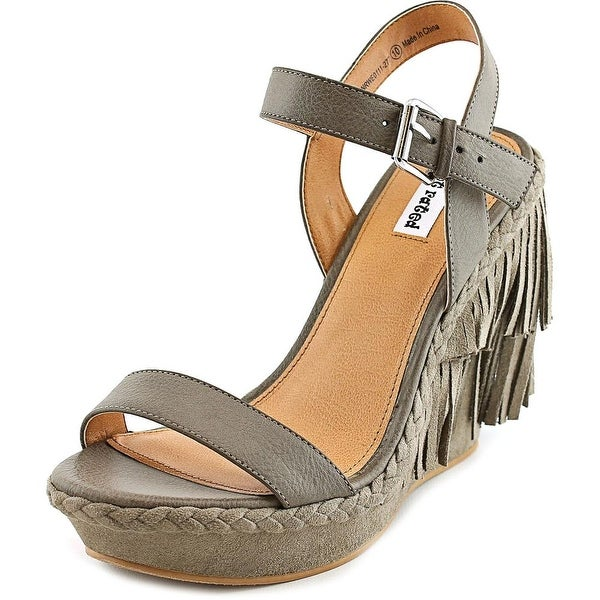 Not Rated Roaring Ruby Women Open Toe Synthetic Gray Wedge Sandal