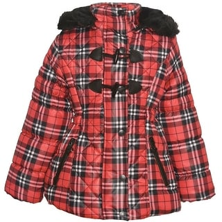 Urban Republic Girls Red Plaid Quilted Toggle Hooded Puffer Coat