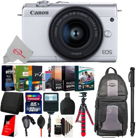 Canon EOS M200 Mirrorless Digital Camera White with 15-45mm Lens + Essential Kit