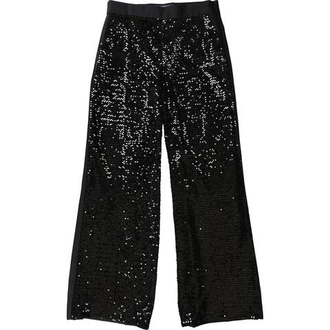 French Connection Womens Sequin Casual Trouser Pants, Black, 8