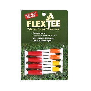 FlexTee Flexible Golf Tees (8 Pack), Florescent Red/Orange/Yellow (product packaging may vary)