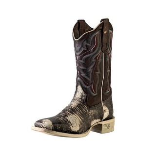 Outlaw Western Boots Womens Lizard Print Lined Square Chocolate 70003