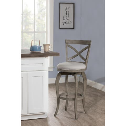 The Gray Barn Chatterly Grey Wood Bar Height Swivel Stool - 44.5H x 17.5W x 21D