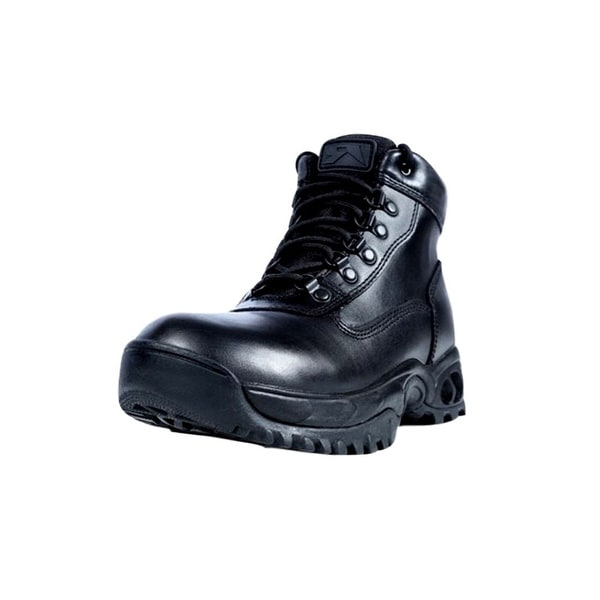 "Ridge Tactical Boots Mens Mid Zip Leather 6"" Shaft Black"