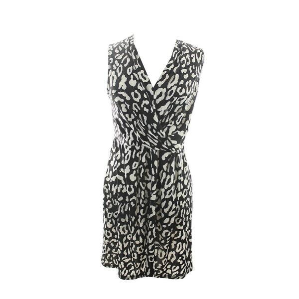 ef5c416d1ce3 Inc International Concepts Black White V-Neck Animal-Print Sheath Dress M