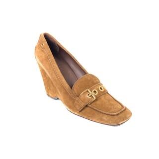 Car Shoe By Prada Light Brown Suede Buckle Wedge Pumps