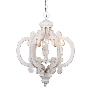Shop distressed antique white 6 light wood chandelier free distressed antique white 6 light wood chandelier aloadofball Choice Image