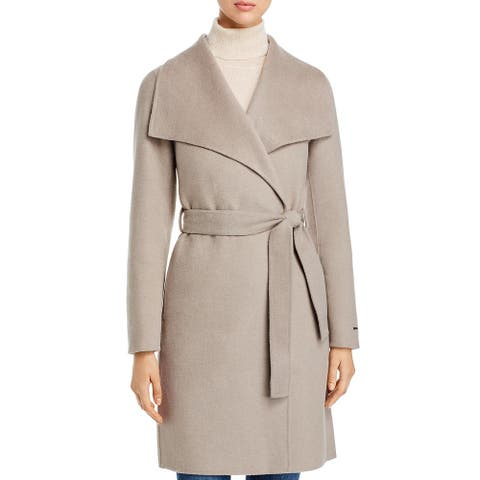 Tahari Ellie Women's Belted Double Face Mid-Length Wool Blend Wrap Coat